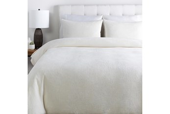 Eastern King Duvet-3 Piece Set Cotton Waffle White
