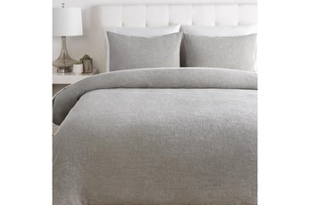 Full/Queen Duvet-3 Piece Set Cotton Waffle Grey
