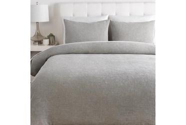 Full/Queen Duvet-3 Piece Set Cotton Waffle Grey