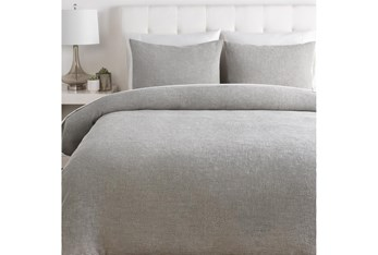 Eastern King Duvet-3 Piece Set Cotton Waffle Grey