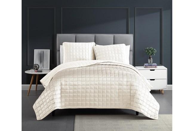 Eastern King Quilt-3 Piece Set Velvet Squares White - 360