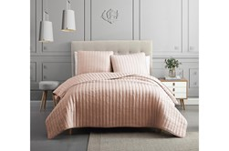 Queen Quilt 3 Piece Set Crinkle Blush