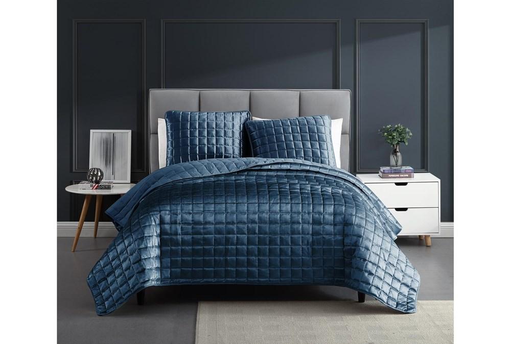 Eastern King Quilt-3 Piece Set Velvet Squares Blue