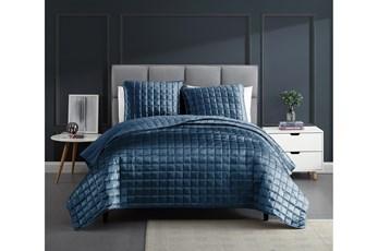 Queen Quilt-3 Piece Set Velvet Squares Blue