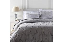 Full/Queen Duvet-3 Piece Set Appliqued Medium Grey
