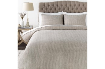 Eastern King Duvet-3 Piece Set Stripe Beige Cream