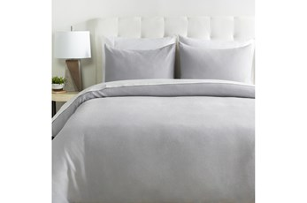 Eastern King Duvet-3 Piece Set Linen Light Grey