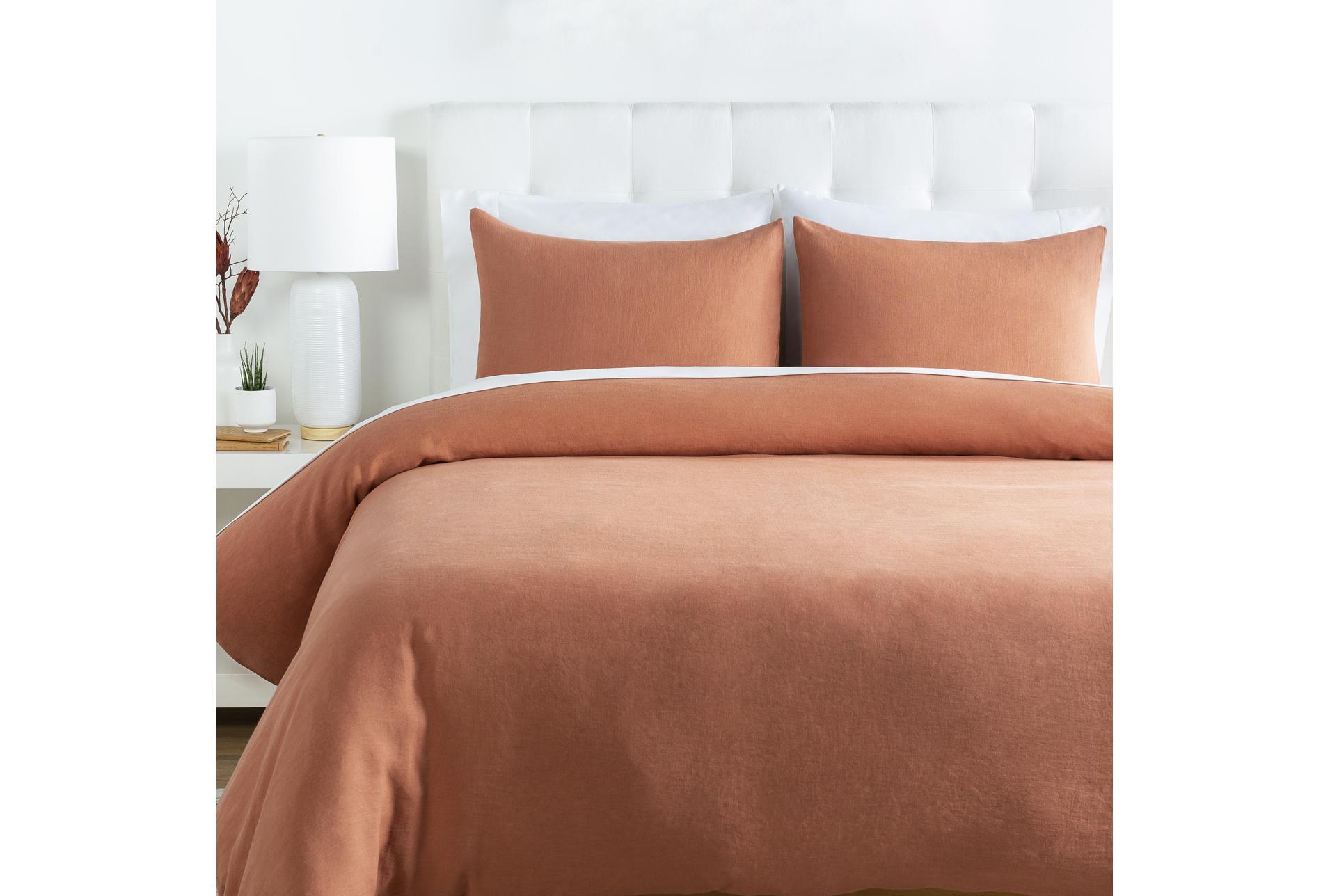 Full Queen Duvet 3 Piece Set Linen Burnt Orange Living Spaces