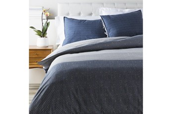 Eastern King Duvet-3 Piece Set Multi Stitched Navy