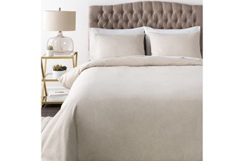 Full/Queen Duvet-3 Piece Set Linen Blend Solid Ivory