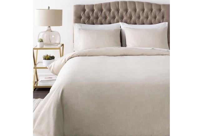 Full/Queen Duvet-3 Piece Set Linen Blend Solid Ivory - 360