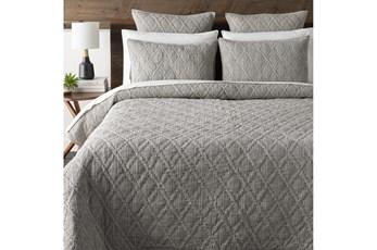 Eastern King Quilt-3 Piece Set Cotton Stitched Grey