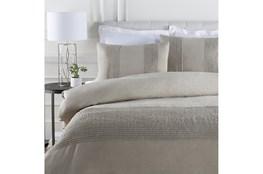 Full/Queen Duvet-3 Piece Set Linen Small Stitched Light Grey
