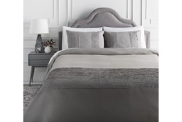 Full/Queen Duvet-3 Piece Set Linen Small Stitched Medium Grey