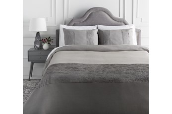 Eastern King Duvet-3 Piece Set Linen Small Stitched Medium Grey
