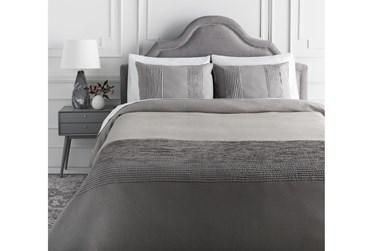 Eastern King Duvet-3 Piece Set Linen Small Stitched Medium Grey