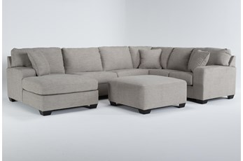 Bryton Jute 3 Piece Sectional With Left Arm Facing Chaise and Cocktail Ottoman