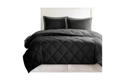 Full/Queen Comforter-3 Piece Set Reversible Diamond Quilting Grey
