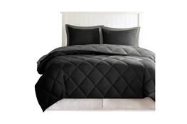 Full/Queen Comforter-3 Piece Set Reversible Diamond Quilting Grey