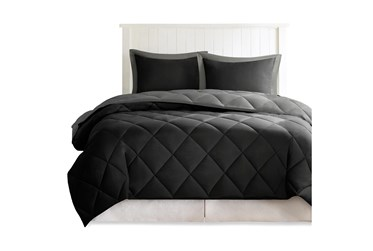 Eastern King Comforter-3 Piece Set Reversible Diamond Quilting Grey