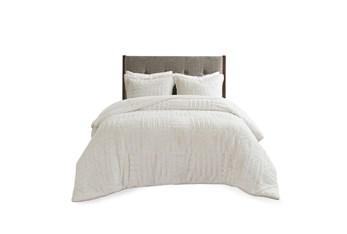 Eastern King/California King Comforter-2 Piece Set Fur Down Alternative White
