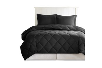 Twin/Twin Xl Comforter-2 Piece Set Reversible Diamond Quilting Black