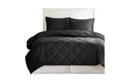 Full/Queen Comforter-3 Piece Set Reversible Diamond Quilting Black