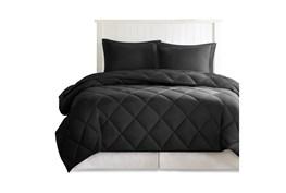 Full/Queen Comforter-3 Piece Set Reversible Diamond Quilting Black