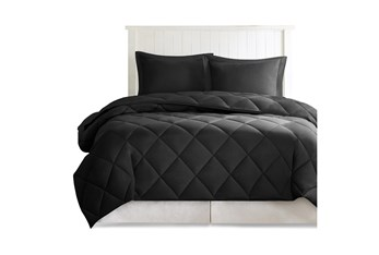 Eastern King Comforter-3 Piece Set Reversible Diamond Quilting Black