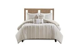 Full Queen Comforter-3 Piece Set Cotton Pom Pom Beige