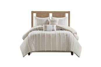 Eastern King Comforter-3 Piece Set Cotton Pom Pom Beige
