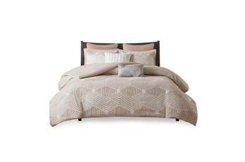 Full/Queen Comforter-3 Piece Set Jaquard Print Blush