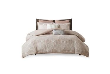 Eastern King/Californial King Comforter-3 Piece Set Jaquard Print Blush