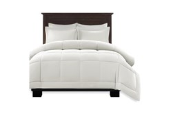Full/Queen Comforter-3 Piece Set Box Quilted Down Alternative White