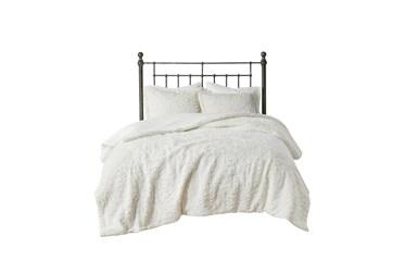 Eastern King Comforter-3 Piece Set Ornate Pattern Cream