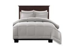 Full/Queen Comforter-3 Piece Set Box Quilted Down Alternative Grey