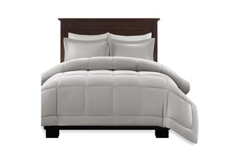 Full/Queen Comforter-3 Piece Set Box Quilted Down Alternative Grey