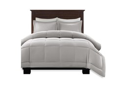 Eastern King/California King Comforter-3 Piece Set Box Quilted Down Alternative Grey