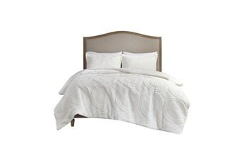 Full/Queen Comforter-3 Piece Set Plush Medallion Cream
