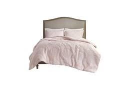 Full/Queen Comforter-3 Piece Set Plush Medallion Pink