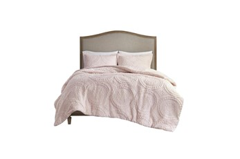 Eastern King/Cal King Comforter-3 Piece Set Plush Medallion Pink