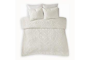 Full/Queen Comforter-3 Piece Set Chenille Medallion White