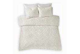 Eastern King/California King Comforter-3 Piece Set Chenille Medallion White
