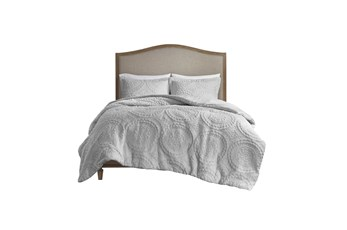 Twin Comforter-2 Piece Set Plush Medallion Grey
