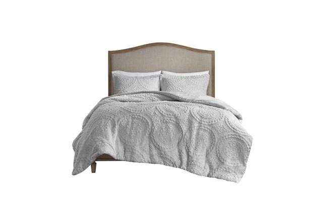 Full/Queen Comforter-3 Piece Set Plush Medallion Grey - 360