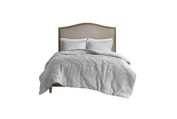 Eastern King/California King Comforter-3 Piece Set Plush Medallion Grey