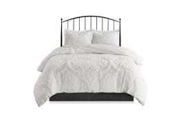 Full/Queen Comforter-3 Piece Set Chenille Damask Print White