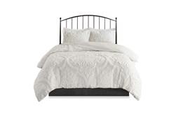 Eastern King Comforter-3 Piece Set Chenille Damask Print White