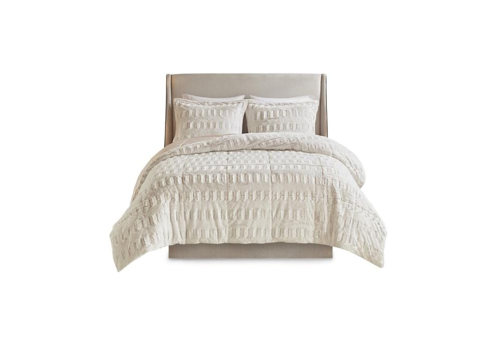 Full/Queen Comforter-3 Piece Set Fur Print Cream & Blush