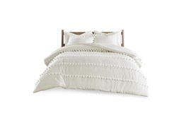 Full/Queen Comforter-3 Piece Set Cotton Pom Pom Cream